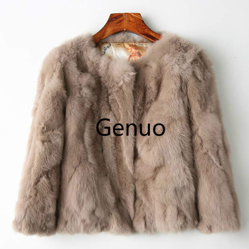 Full Pelt Fur Jacket Women s Design Rabbit Fur Coat Natural Wholeskin Fur Coat O Neck