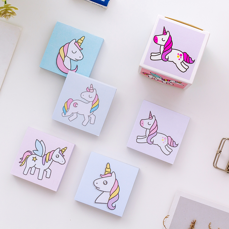 5Pcs /Box Boxed Kawaii Unicorn Memo Pad Sticky Notes Student Stationery School Office Supply Paper Writing Portable Palm Notepad