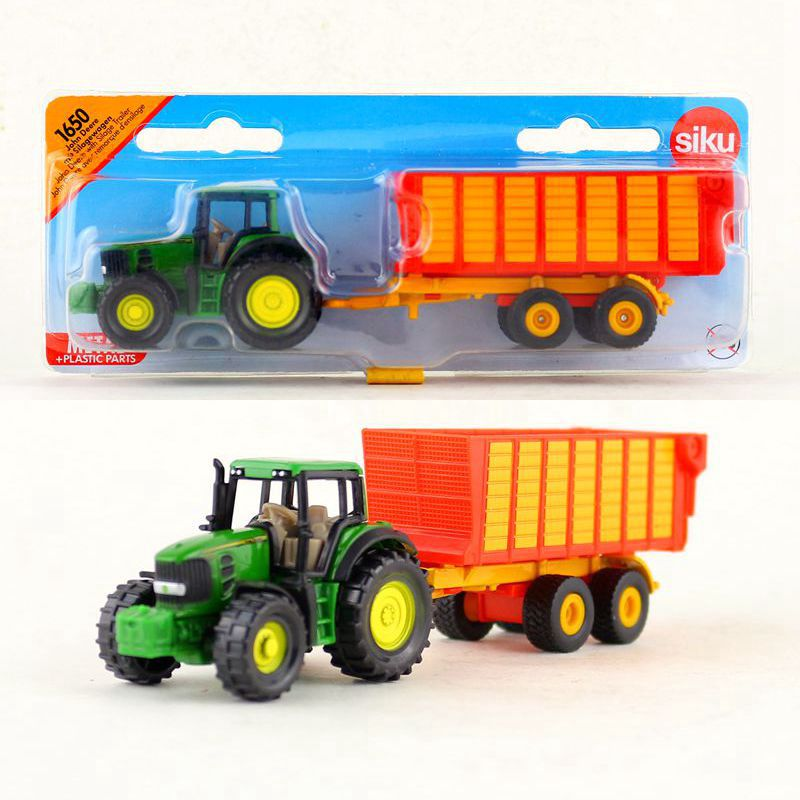 SIKU 1650/DieCast Metal Model/Farm John Tractor And A Carriage Toy Car/Educational/for Children's Gifts Or Collection/Small