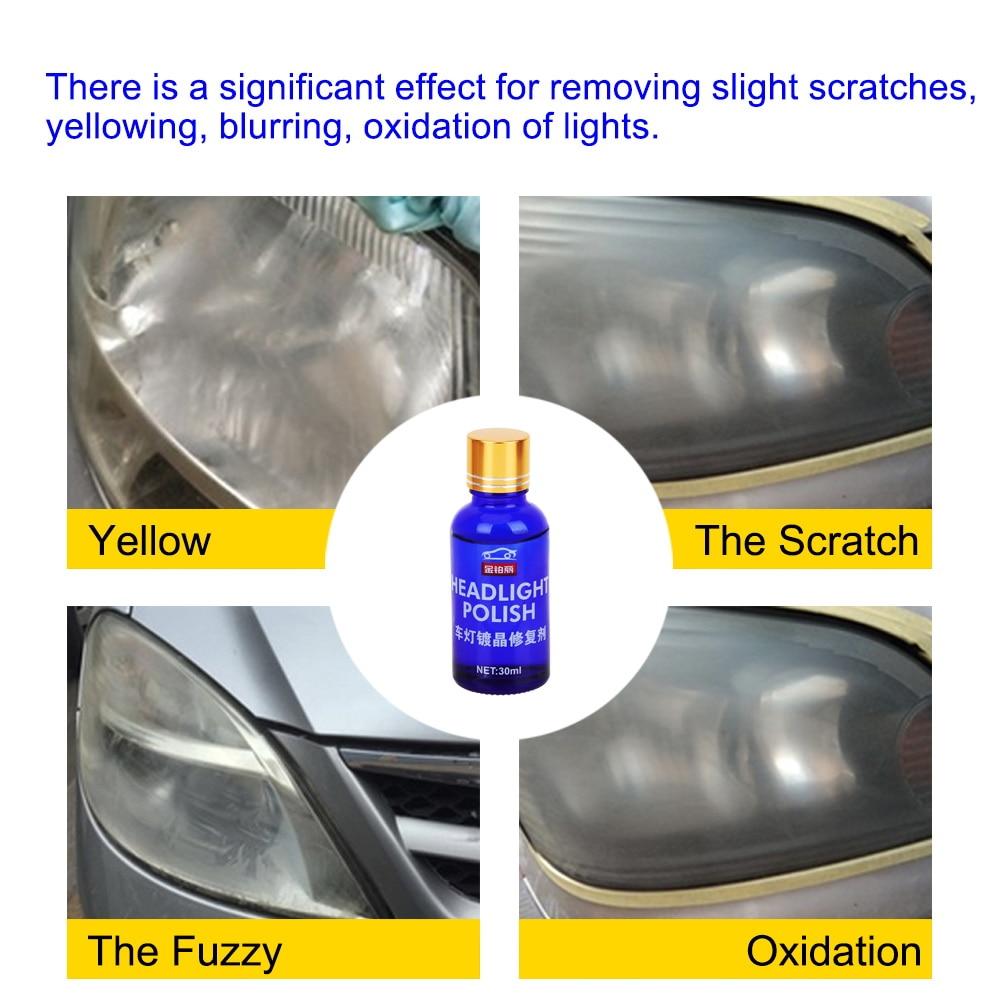 30 мл комплект для ремонта автомобильных фар с покрытием комплект для ремонта окислительного покрытия заднего вида полировка фар жидкость с защитой от царапин