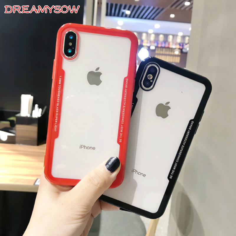 Glass Case for iPhone X 10 8 7 Transparent Clear Cover Bumper for Apple iPhone 6 6sPlus 7Plus 8Plus 5S SE Soft TPU Silicone Case iPhone