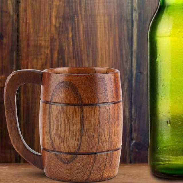 Rustic Wooden Mug for Beer and Other Beverages