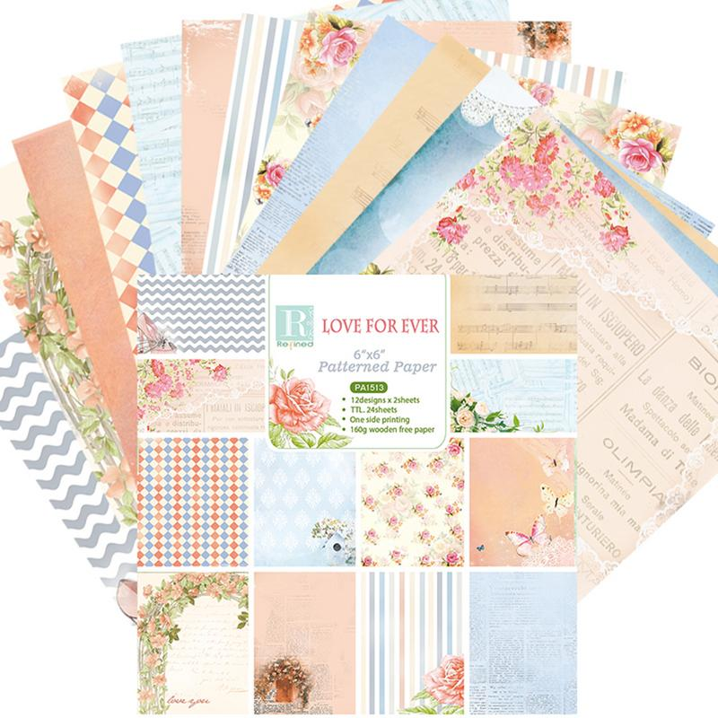 24PCS Love For Ever DIY Album Scrapbook Notebook Greeting Card Background Paper 6 Inch Single-Sided Pattern Paper #CO image