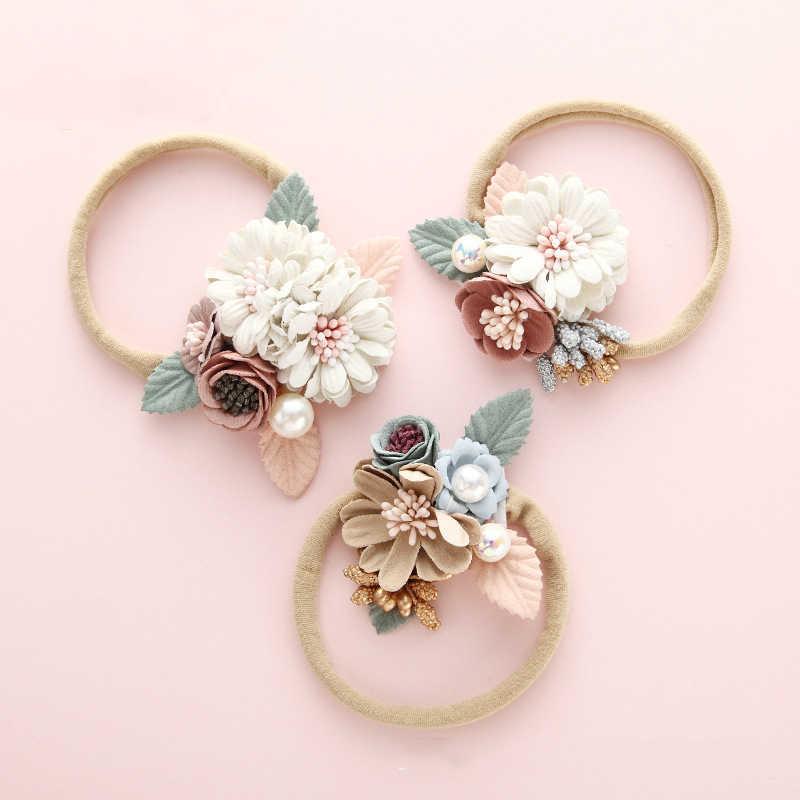 BalleenShiny Mode Blumen Stirnband Neugeborenen Baby Elastische Prinzessin Hair Kind Kinder Perle Frische Stil Nette Headwear Geschenke