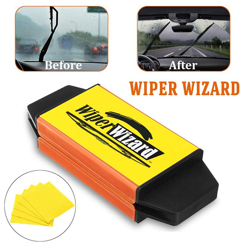 Hot 12.5X4.8cm Car Wiper Wizard Blade Restorer With 5pcs Wizard Wipes Wiper Cleaning Brush Van Windscreen Cleaner Car-Styling