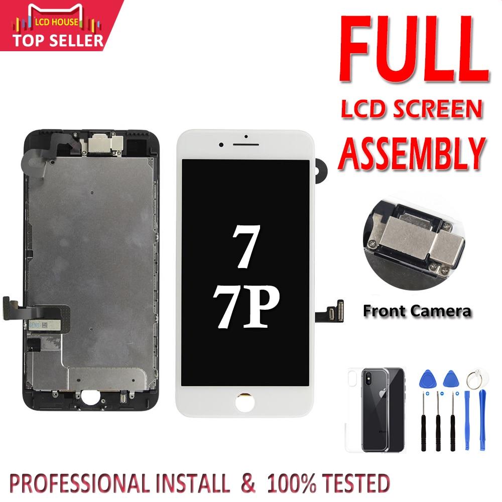 ЖК-экран и дигитайзер в сборе для iPhone 7 Plus, Замена 3D сенсорного экрана для камеры 7 P с наушниками, класс AAA