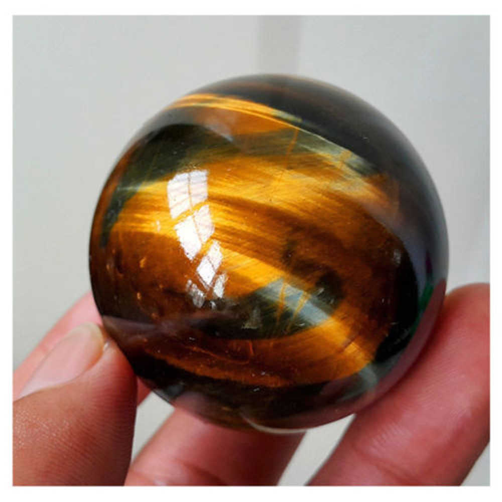 Dark Yellow Asian Rare Tiger Eye Quartz Crystal Healing Ball 20-22mm 1pcs Sphere Beads