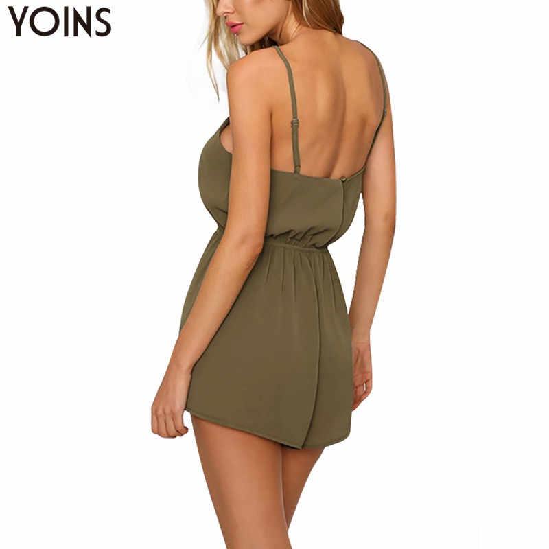 YOINS женский армейский зеленый спагетти брючный костюм с бретельками Сексуальная Criss Front Лето 2019 г. Playsuit качели рукавов Комбинезоны для малышек короткие боди