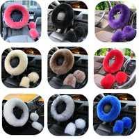 8be1476cb 36 38cm Car Steering Wheel Cover Purple Red Pink Winter Furry Diameter For  Most Standard Steering