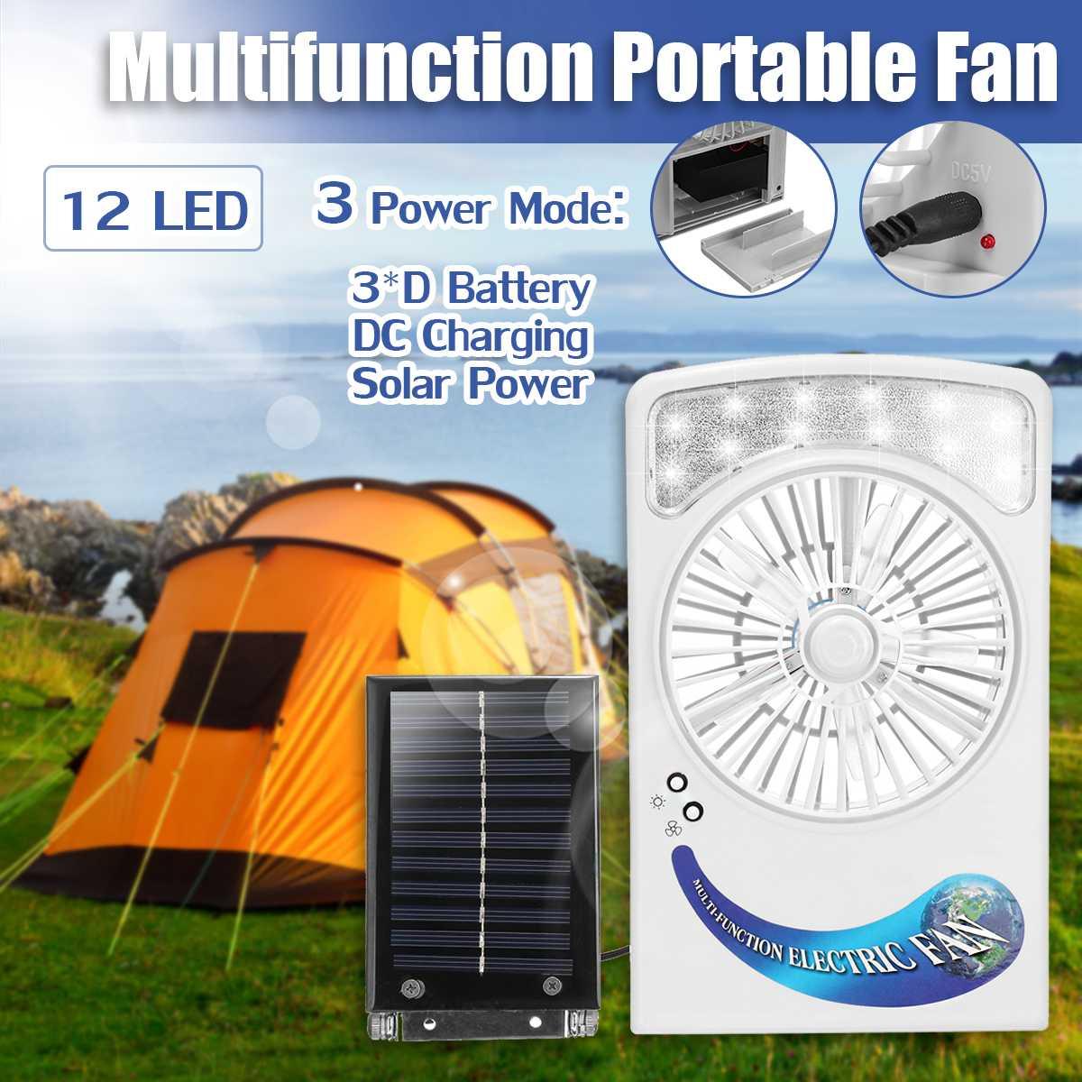 Solaire Puissance/AC Rechargeable Éclairage Ventilateur Système 2 dans 1 6 V 1.2 W panneau solaire 12 lumière led Vent Fort ventilateur Pour Camping En Plein Air