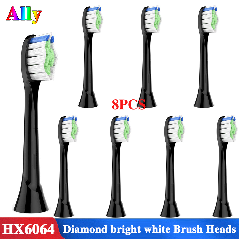Black Replacement Brush Heads for Philips Sonicare FlexCare HealthyWhite Essence and EasyClean HX6063/64 Electric Toothbrush image
