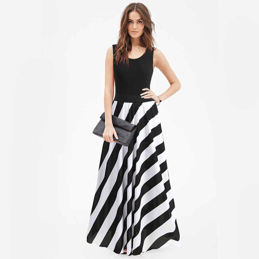 2018 Новое поступление женское элегантное платье без рукавов Полосатое лоскутное Белое и черное женское длинное платье на каждый день