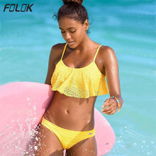 Ruffle Bikini Low Waist Solid Bandage Swimsuit Women Off Shoulder Swimwear Female Backless Beachwear Brazilian Bikini Set цена 2017