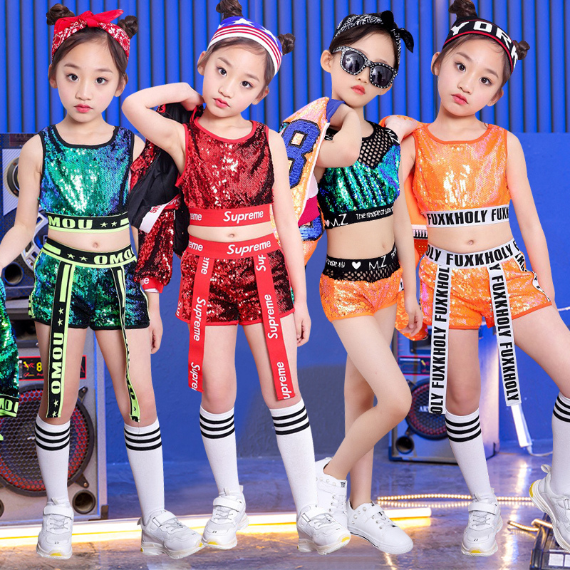 Girl Dance Clothing Korean Version Navel Suit Less Children Hip Hop Clothes Girl Performance Come Clothing
