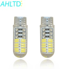 2PCS T10 W5W DC 12V Canbus 24SMD Silicone Shell IP65 Car 4014 24LED Lights Bulb No Error Led Parking Fog light Auto car-styling(China)