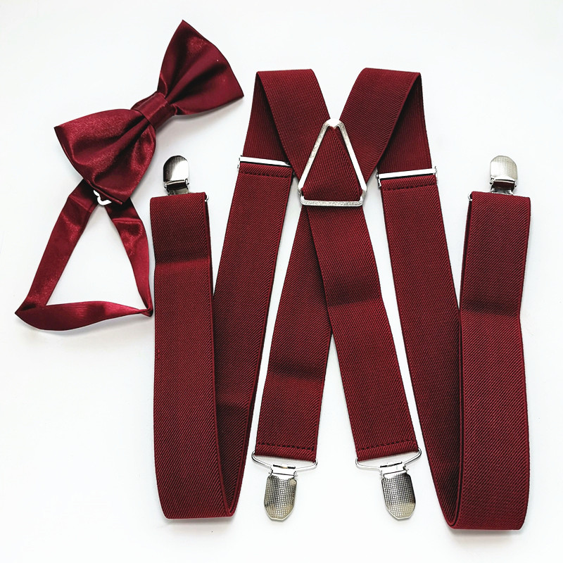 Solid Color Unisex Men's Suspenders Bow Tie Set Elastic Adjustable Suspender Neck Tie Sets Women Children Accessories LB054