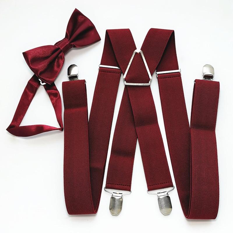 Solid Color Unisex Men's Suspenders Bow Tie Set Elastic Adjustable Suspender Neck Tie Sets Women Children Accessories LB054