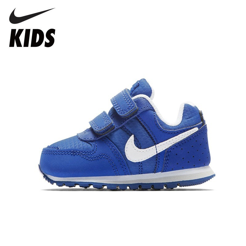 Nike Kids Official Nike MD Runner TDV Baby Motion Children's Shoes Blue And White Breathable Sneakers 652966 aeg md 5613 white blue ирригатор