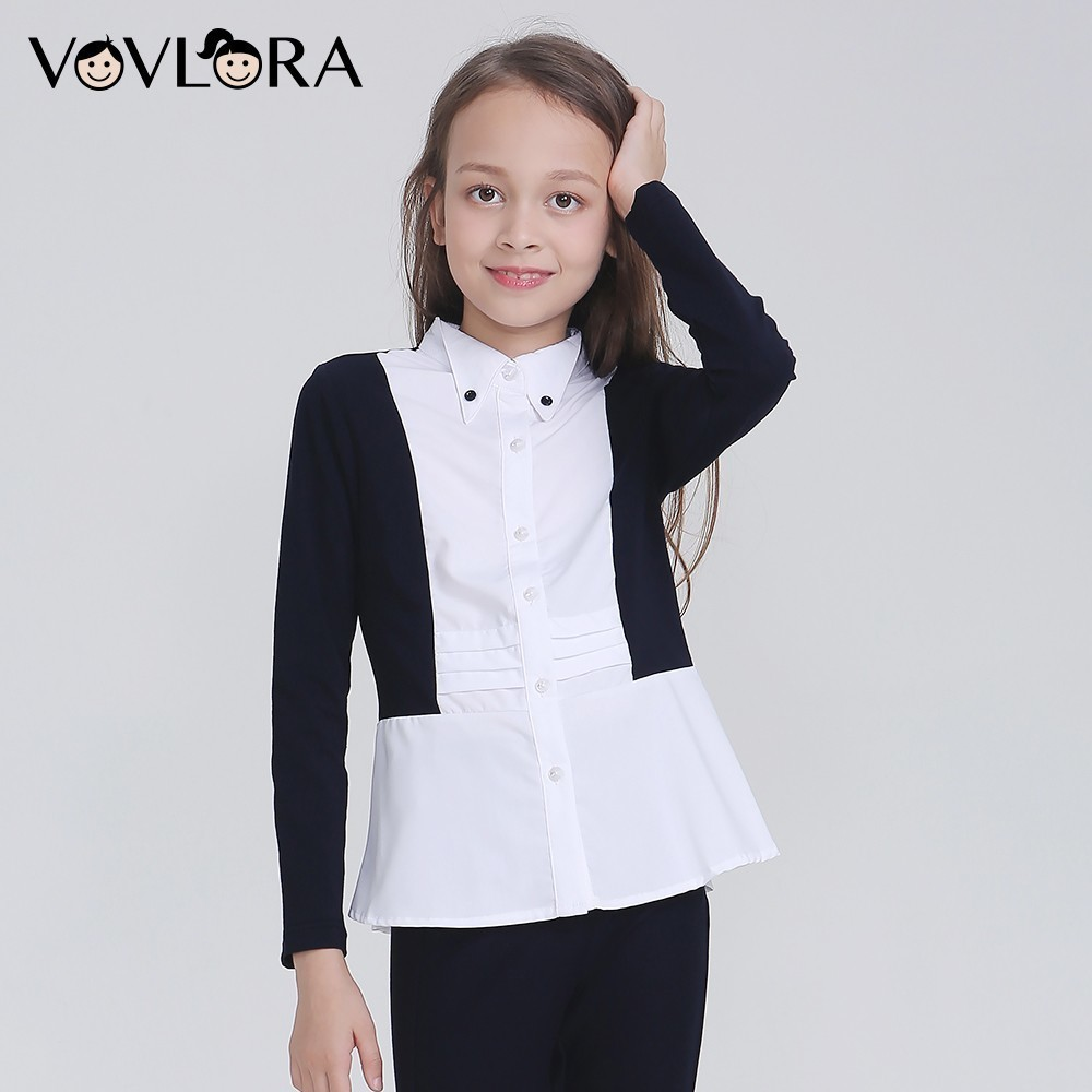 Autumn Long Sleeve School Girls Blouses Pleated Lace Button Children Blouse Fashion 2018 School Uniform Size 7 8 9 10 11 12 Year