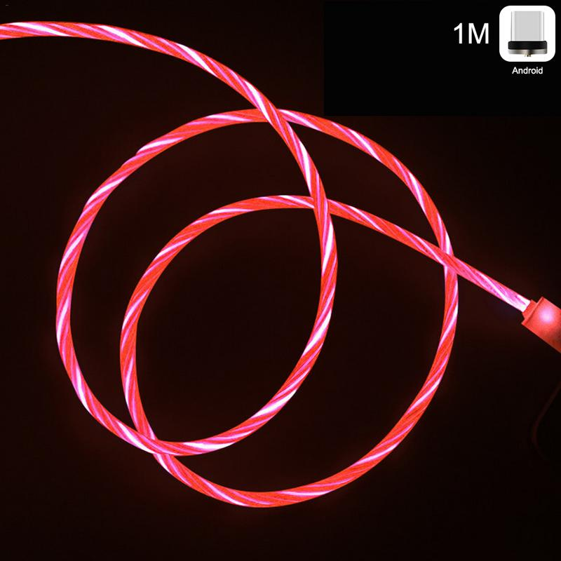 One For Three LED Light Streaming Data Cable Magnetic Absorption USB Sync Data Charger Cable For Type-c IPhone Android