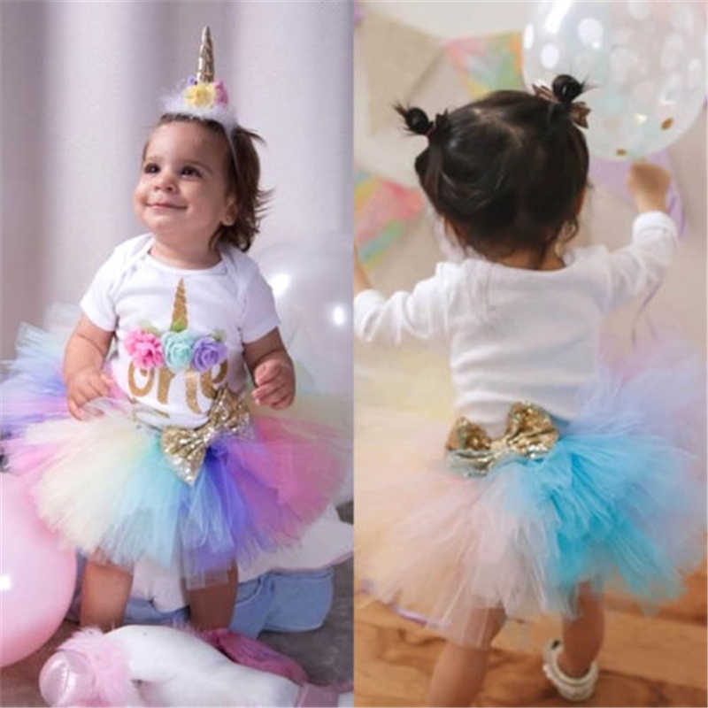 2d4e60726cad ... UK 3PCS Baby Girl 1st Birthday Outfit Party Unicorn Romper Cake Smash Tutu  Dress New Baby ...
