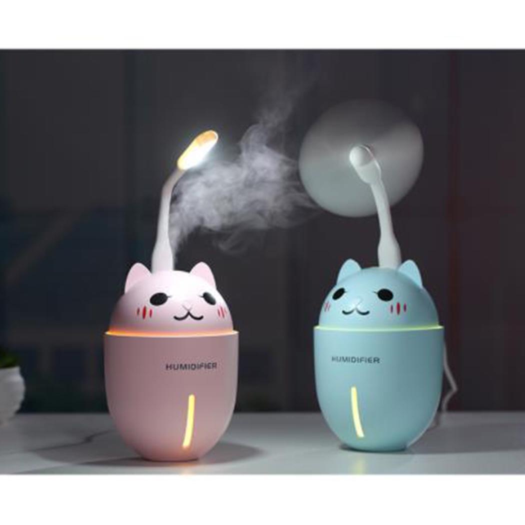 Car Humidifier Ultrasonic Cool-Mist Adorable Pet Mini Humidifier With LED Light Mini USB Fan Automatic Shut Off for Yoga Office