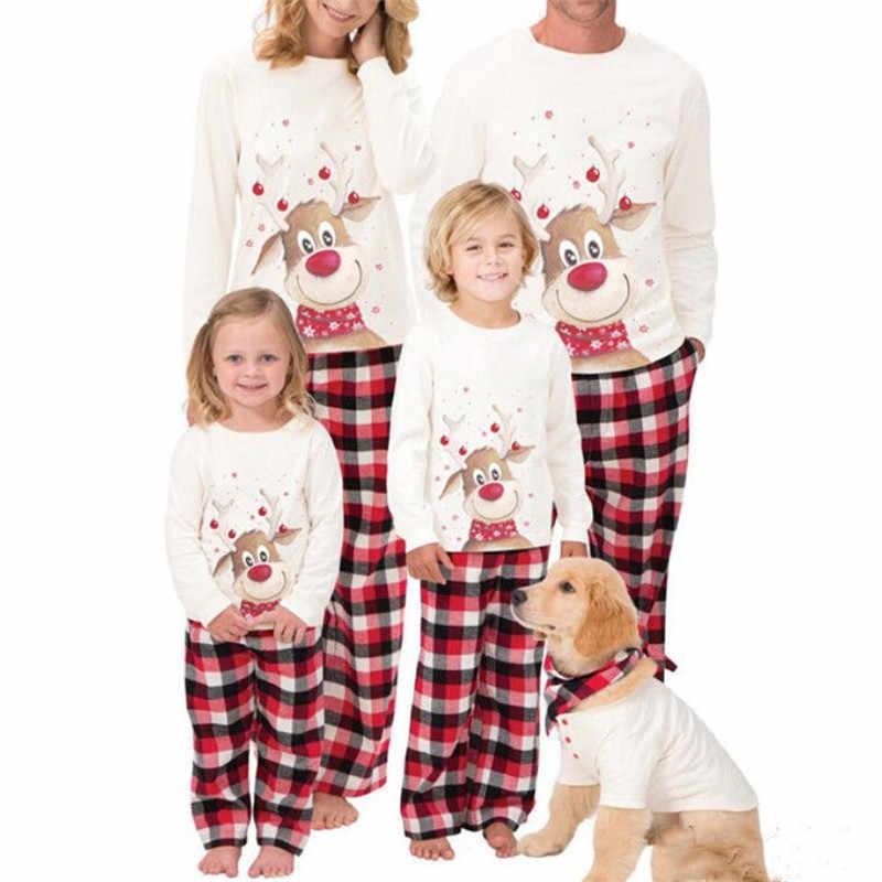 db3c2c2301 Family Matching Christmas Pajamas Set 2019 New Year  Father Mother Son Daughter Xmas Deer Printed Sleepwear Family Look Nightwear