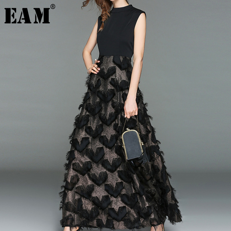 [EAM] 2020 Spring Summer New Fashion Sleeveless Tassel Split Joint Ankle-length Round Neck Patchwork Women Long Dress AA179