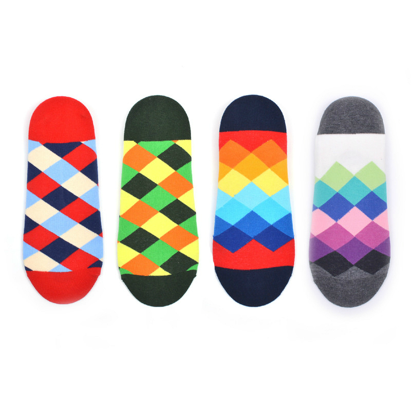 Forceful Peonfly Hit Color Geometry Slippers Socks Men Colorful Weave Point Cotton Mens And Male Sock Colorful Breathable Boat Socks Year-End Bargain Sale Men's Socks