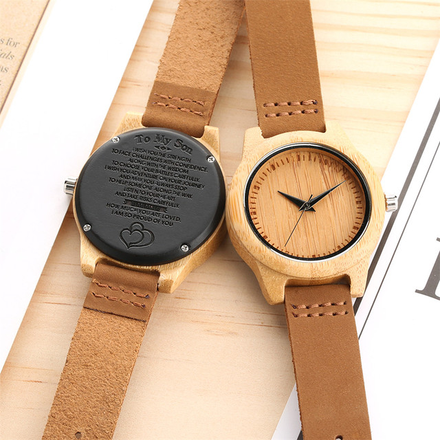 Unique Customized Engraved Wooden Watch Men's Quartz Wrist Watches Best Birthday Anniversary Gifts for Male reloj para hombre 2