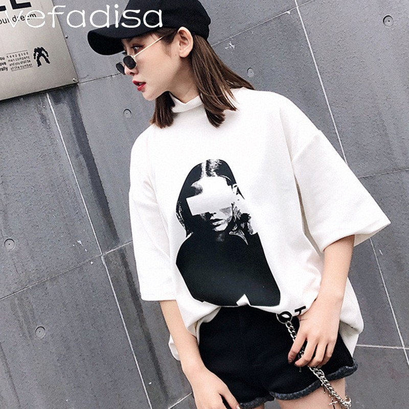Vefadisa 2019 Beauty Printing T Shirt Women Solid Short Sleeve T Shirt Girls Turtleneck Harajuku Loose T Shirt ZLD494