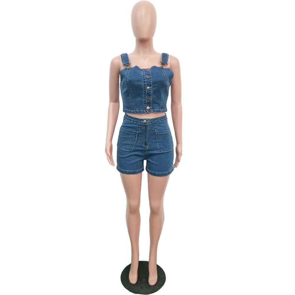 Tobinoone セクシーな女性 2 2 個セット夏デニムセットノースリーブジーンズクロップトップ + ショーツスーツブルーデニムマッチングセット衣装