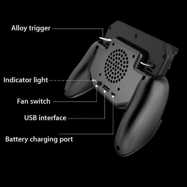 PUBG Mobile Phone Game Controller ower Bank Joystick Cooling Fan Gamepad Android