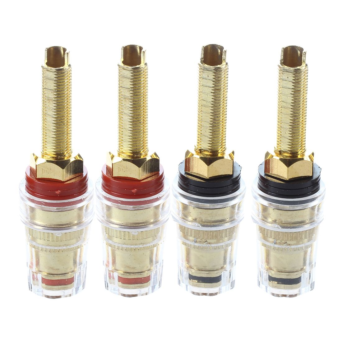 4x Speaker Terminal Binding Post Connectors Gold plated banana plug Terminals     - title=