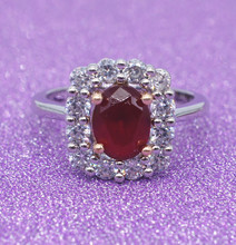 925 Sterling Silver Ring with Ruby Stones for Women Vintage Crystal Zircon Fashion Luxury Party Jade Bizuteria Jewelry