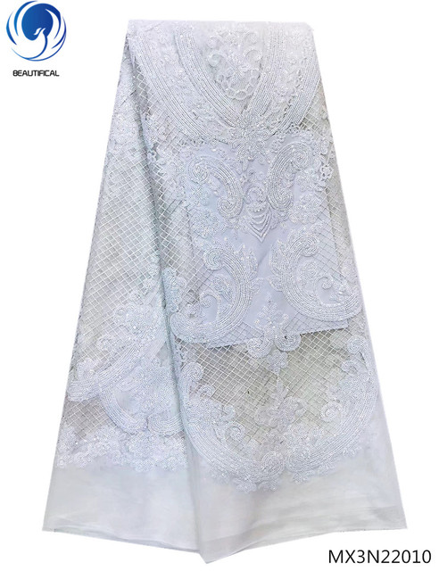 Beautifical 5 yards sequin lace fabric nigerian lace fabrics african lace fabric 2018 high quality lace white material MX3N220