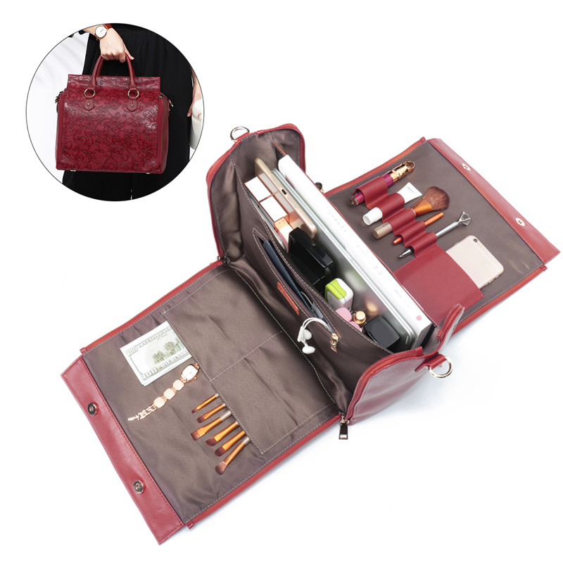 AEQUEEN Large Capacity Women Handbag Female Travel Bag Embossed Leather Multifunction Shoulder Crossbody Bag Feminine Bolsa
