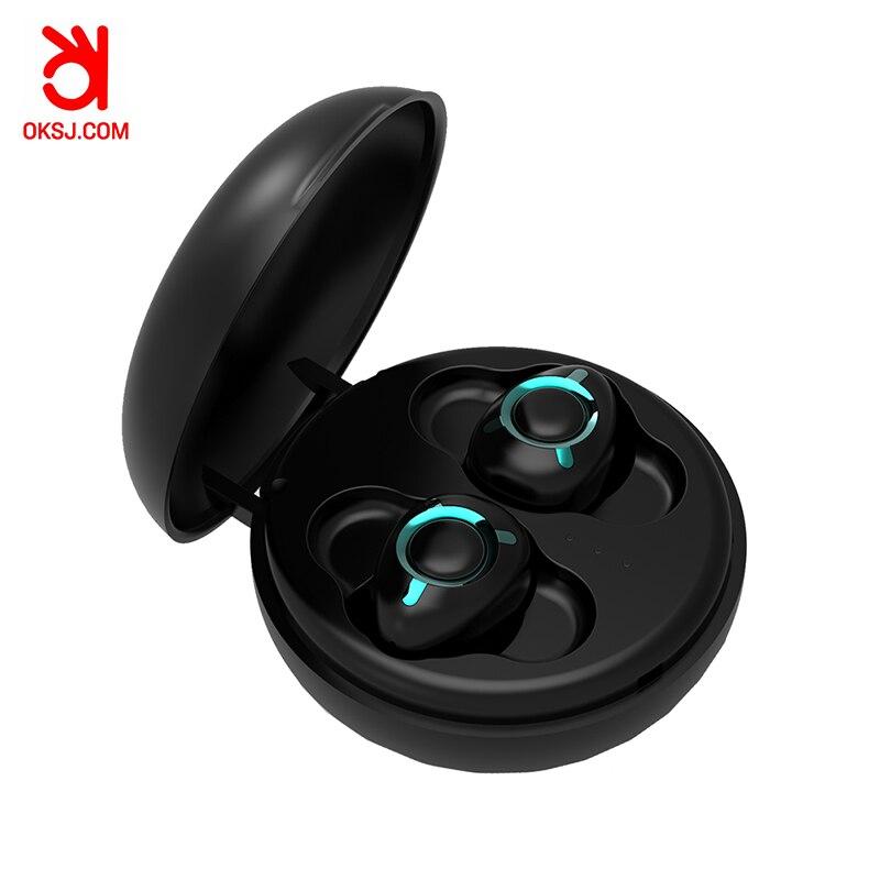 OKSJ T06 Bluetooth Headset 5.0 Business Mini In Ear Sports earphone Waterproof Running wireless earphones Subwoofer for iphone x-in Bluetooth Earphones & Headphones from Consumer Electronics    1