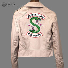 Riverdale Serpents Print PU Leather Jacket Women Pink Black Streetwear Motorcycle Jackets Turn-down Collar Zipper Coat Okd757(China)