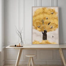 Fantasy Golden Tree Wall Art Canvas Posters Prints Birds Painting Nordic Decoration Picture for Living Room Decor Unframed(China)