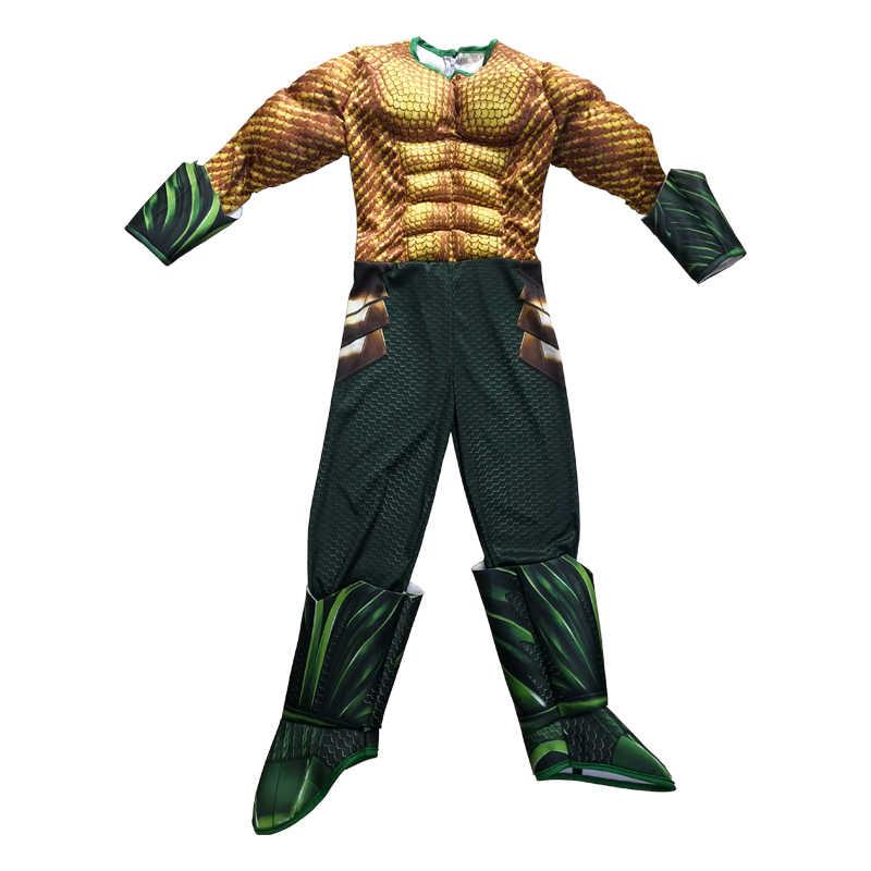Novo aquaman traje crianças ouro aquaman músculo cosplay traje para meninos trajes de super-herói para crianças traje de halloween para crianças