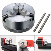 1Pcs Metal Silver 3 Jaw Lathe Chuck M12*1 45mm Self Centering Hardened with 2Pcs Lock Rods Durable