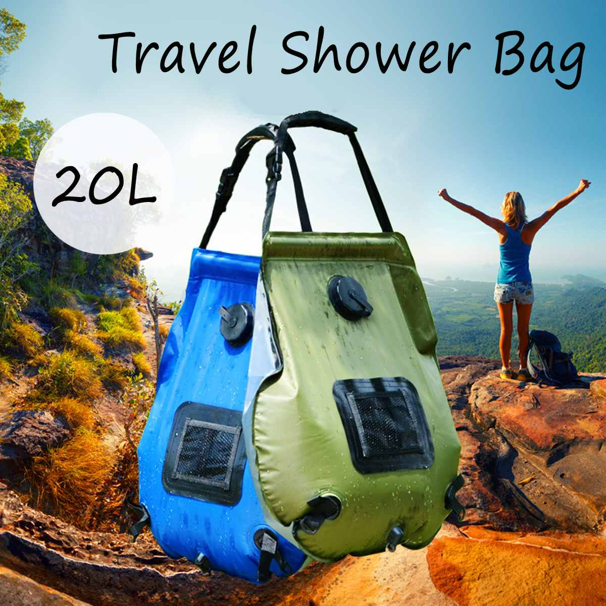 Us 13 53 18 Off Waterproof Dry Bag 20l Camping Solar Shower Portable Outdoor Hiking Energy Heated Camp Bags Durable In Water