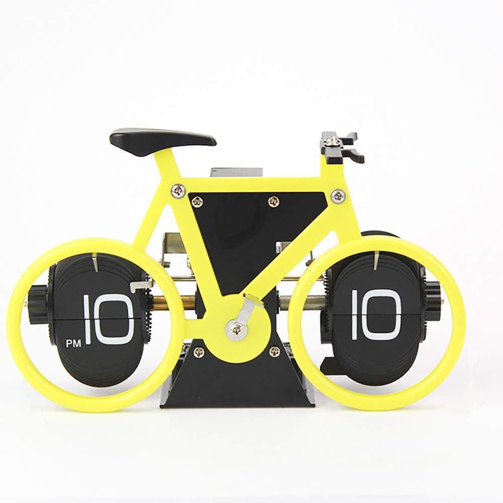 Automatic Page Turning Clock Creative Bicycle Turning Clock Desktop Silent Clock Suitable For Home Office Desktop Decoration
