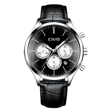CIVO Top Brand Luxury Genuine Leather Male Clock Waterproof Chronograph Date Sports Quartz Watch Men Relogio Masculino