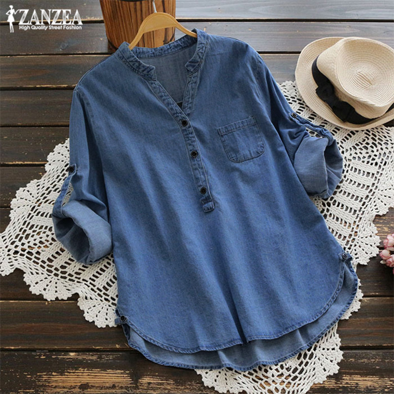 ZANZEA Fashion Women's   Blouse   2019 Autumn Denim Blue   Shirts   Female V Neck Long Sleeve   Shirt   Button Down Summer Blusas Work Tops