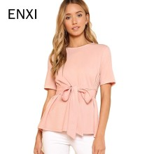 ENXI Maternity Clothes Summer 2018 Women Shirts Casual Loose Short Sleeve Elegant T-shirts High Waist Solid Tee Tops Plus Size