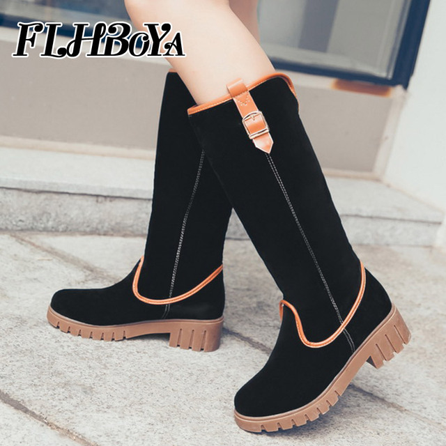 190ca0c1f 2018 Fashion Women Slip-on Low Square Heel Round Toe Knee-high Boots For  Ladies Autumn Winter Black Gray Buckle long Boot Shoes
