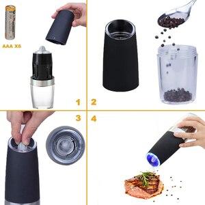 Image 3 - ALIM Горячая Премиум гравитационная электрическая мельница для соли и перца, набор из 2 аккумуляторов, солонка, автоматическая, одна рука, перец Mil