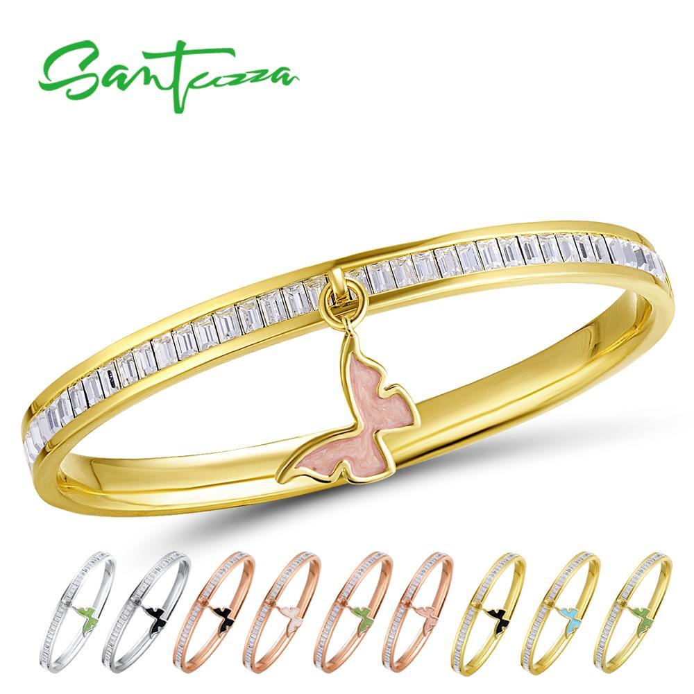 SANTUZZA Bangle For Woman Multi Color Butterfly Bracelet Bangle Sparkling Crystal Elegant Trendy Fashion Jewelry HANDMADE